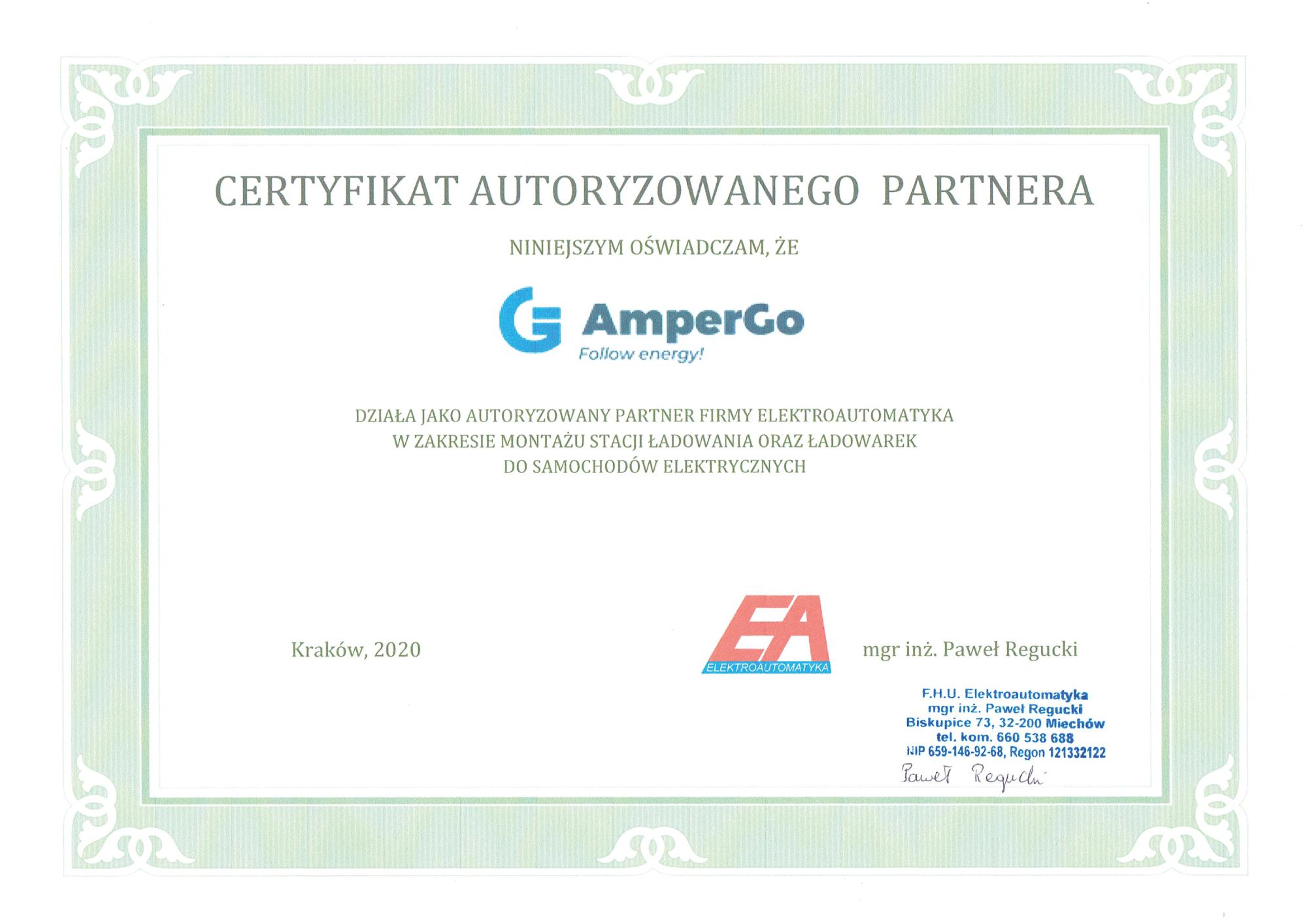 Certyfikat autoryzowanego partnera - Elektroautomatyka