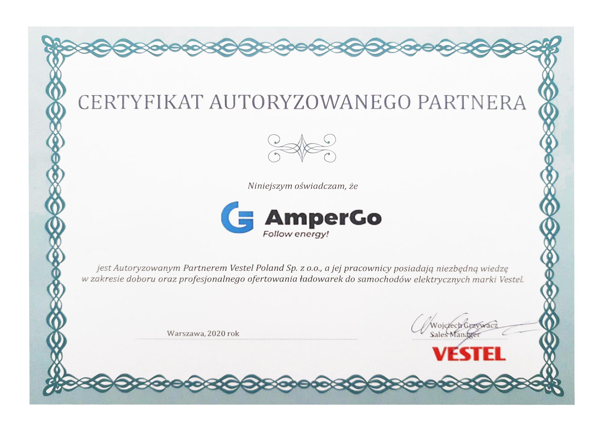 Certyfikat autoryzowanego partnera - Vestel
