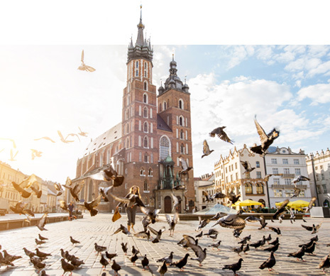 Widok na rynek w Krakowie