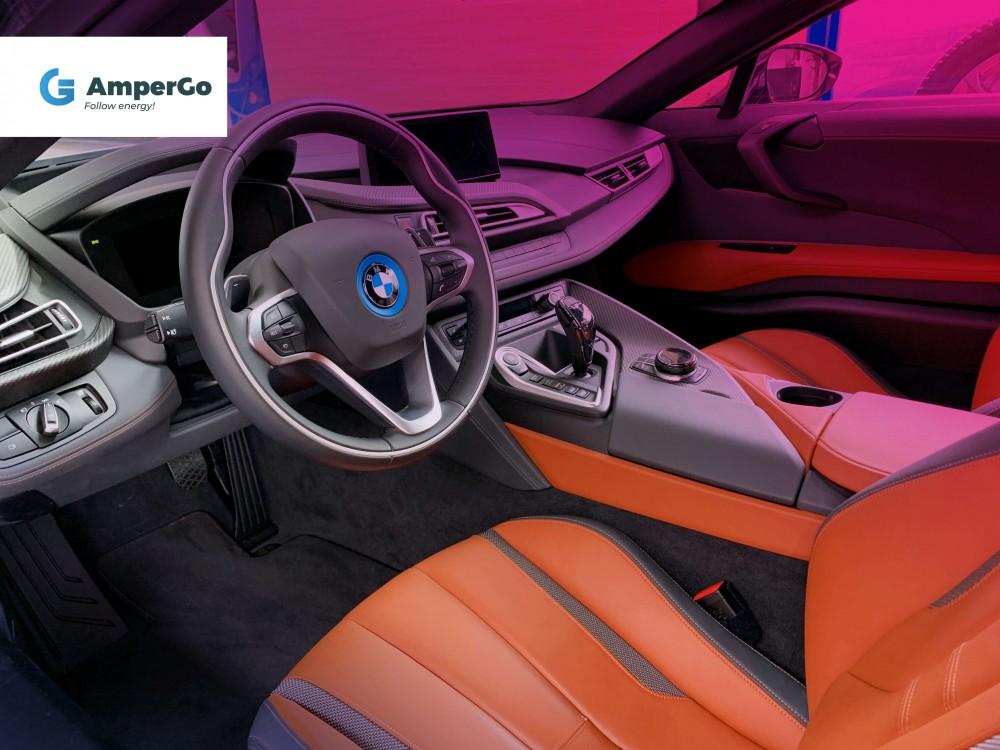BMW i8 wnętrze samochodu elektrycznego